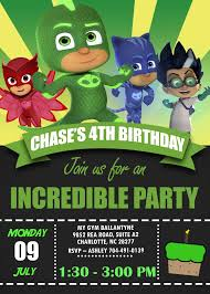 Green Gekko Pj Masks Birthday Invitation Invitacion Cumpleanos