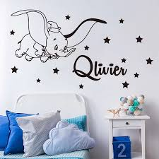Cartoon Custom Name Dumbo Star Wall Decal Kids Room Bedroom Personalized Name Dumbo Animal Wall Sticker Nursery Vinyl Decor Y011 Wall Stickers Aliexpress