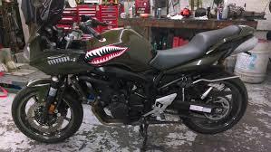 Custom Wwii Shark Teeth Decals On The Tank Of A Yamaha Fz6 Sharkteeth Motorcycledecals Motorcycle Decals Bike Bike Parts