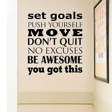 Fitness Wall Decal Subway Art Vinyl Decal Set Goals Push Yourself Exercise Decal Fitness Motivation Decor Workout Rooms Wall Quotes Motivational Decals