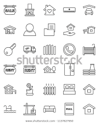 Thin Line Vector Icon Set House Stock Vector Royalty Free 1137627950