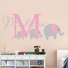 Custom Elephant Trio Girl Name Wall Decal
