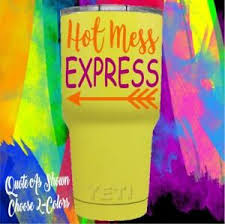 Monogram Vinyl Decal For Your Tumbler Cup Hot Mess Express Quote Cute Quote Ebay