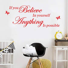 Amazon Com 3d Wall Stickers Tptpt 3d Self Adhesive Believe In Yourself Removable Art Pvc Home Decoration Wall Stickers Red Home Kitchen
