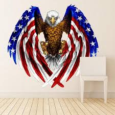 Shop Eagle Usa Symbol Flag Full Color Wall Decal Sticker K 761 Frst Size 52 X65 Overstock 20979815