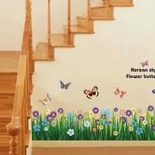 Butterfly Grass Flowers Wall Stickers Garden Flower Wall Decals For Baby Girls Bedroom Playroom G0lm7003 Flower Wall Decals Wall Decalsflower Wall Sticker Aliexpress