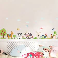 Lovely Animals Farm Wall Stickers For Home Decoration Kids Room Bedroom Cow Horse Pig Chicken Mural Art Diy Pvc Wall Decals Wall Stickers Aliexpress