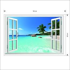 Wintop Ocean View Faux Windows Beach Tropical Blue Sea Removable Mural Wall Stickers Wall Decal For Television Background Home Decor 60x90cm Ocean View Wall Stickers Murals Olivia Decor