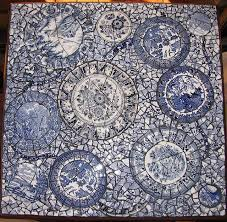 blue and white mosaic table sold