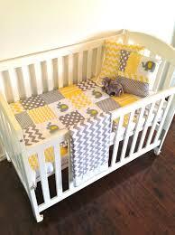 grey and yellow elephant crib bedding