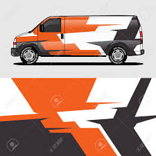 Car Livery Orange Van Wrap Design Wrapping Sticker And Decal Royalty Free Cliparts Vectors And Stock Illustration Image 124381059