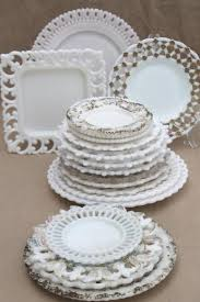 old antique milk glass plates lot