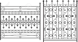 Wrought Iron Gate Door Fence Window Grill Railing Design Royalty Free Cliparts Vectors And Stock Illustration Image 46431837