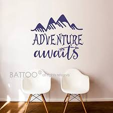 Amazon Com Battoo Adventure Awaits Wall Decal Stickers Adventure Quotes Travel Theme Wall Decor Arrow Wall Decal Mountain Wall Decal Bedroom Nursery Decor Navy Blue 18 5 Wx16 H Furniture Decor