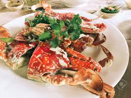 Boiled Crab On White Dish At Seafood ...