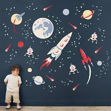 Space Rocket Fabric Wall Stickers Etsy Space Wall Decals Space Themed Room Space Themed Nursery