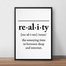 Definition Of Reality Poster Black White Canvas Print Kids Wall Art Nordicwallart Com