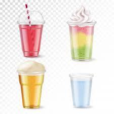 set of four disposable plastic glasses