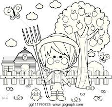 Eps Vector Farmer Boy At The Farm Vector Black And White Coloring Page Stock Clipart Illustration Gg111760725 Gograph