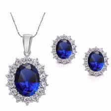 blue crystal jewellery set