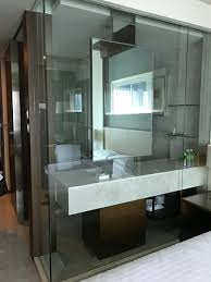 bathroom with clear glass wall