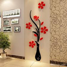 Wholesale Wall Stickers Acrylic 3d Plum Flower Vase Stickers Vinyl Art Diy Home Decor Wall Decal Red Floral Wall Sticker Colors Kids Removable Wall Stickers Kids Room Stickers From Ok767 9 05 Dhgate Com