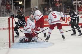 men s hockey ohio state splits pair at