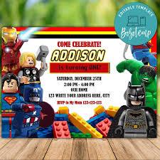 Invitacion De Cumpleanos De Lego Marvel Superheroes Imprimible Descarga Instantanea Bobotemp