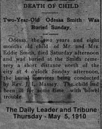 Odessa(r) Vera Smith (1907-1910) - Find A Grave Memorial