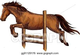Vector Art Arabian Brown Horse Racing Jumping Over Barrier Clipart Drawing Gg91129176 Gograph
