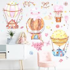 Pastel Love Hot Air Balloon Wall Stickers Gallery Wallrus Free Worldwide Shipping