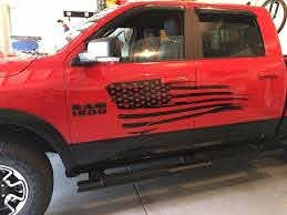 Wavy Flag Decal For Ram Side Door Distressed Torn Flag Flag Decal American Flag Decal Distressed Flag