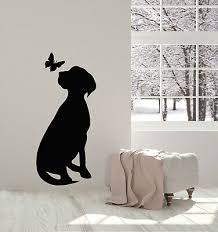 Vinyl Wall Decal Dog With Butterfly Silhouette Pet Home Animals Stickers G1315 Ebay