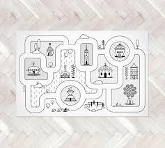 Monochrome Nursery Game Road Map City Rug Kids City Area Rug Etsy In 2020 Play Rug City Rugs Monochrome Nursery