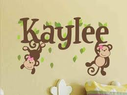 Monkey Name Decal Girl Name Decal Girl Name Wall Decal Baby Etsy Nursery Wall Decals Monkey Wall Decals Name Wall Decals