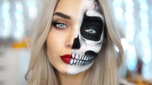 half skull halloween makeup tutorial