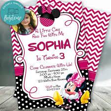 Invitaciones Rosadas Editables De Minnie Mouse Con Foto Pdf Bobotemp