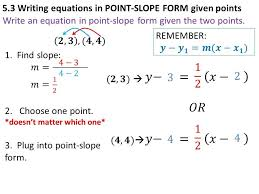 point slope form equation with two
