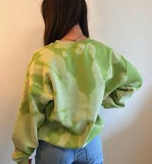Kiwi Green bleach tie dyed crew neck sweatshirt/pullover | Etsy