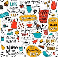 cafe pattern doodle tea pots cups inspirational quotes