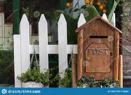 Wooden Letter Box With Plants And White Fence Stock Image Image Of Service Delivery 129417157
