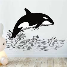 Orca Wall Sticker Whale Waves Drawing Wall Decal Decor For Home Removable Vinyl Sticker Black And White Wall Art Decals Hy1349 Wall Stickers Aliexpress