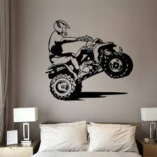 Black Dirt Bike Mx Motocross Motorcycle Decal Wall Sticker Vinyl Mural Boys Room Decor Wish