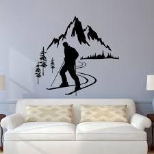 Winter Sports Wall Decal Skiing Sports Wall Sticker Kids Room Decoration Nursery Mountain Wall Decal Skier Vinyl Wall Art Ay1013 Wall Stickers Aliexpress