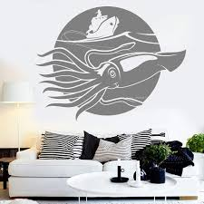 Giant Squid Vinyl Wall Decal Kraken Sea Fishing Ship Marine Style Wall Stickers For Bedroom Home Decor Art Murals Animals Lc1579 Wall Stickers Aliexpress