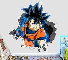 Dragon Ball Z Goku Furious Wall Decal Smashed 3d Sticker Vinyl Decor Mural Movie Kids Broken Wall 3d Designs Op648 Small Wide 22 X 16 Height Wantitall