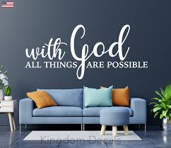 With God All Things Are Possible Vinyl Wall Decal Quote Christian Sticker Decor