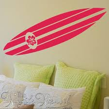 Surfboard Hibiscus Wall Decals Vinyl Wall Decal Sticker For Walls Or Car Windows Large Or Small Decals Surfboard Wall Kids Wall Decals Surfboard Decor