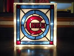 chicago cubs baseball reclaimed glass