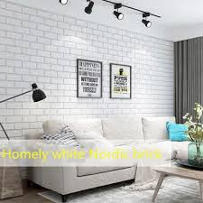 nordic style white brick dining room